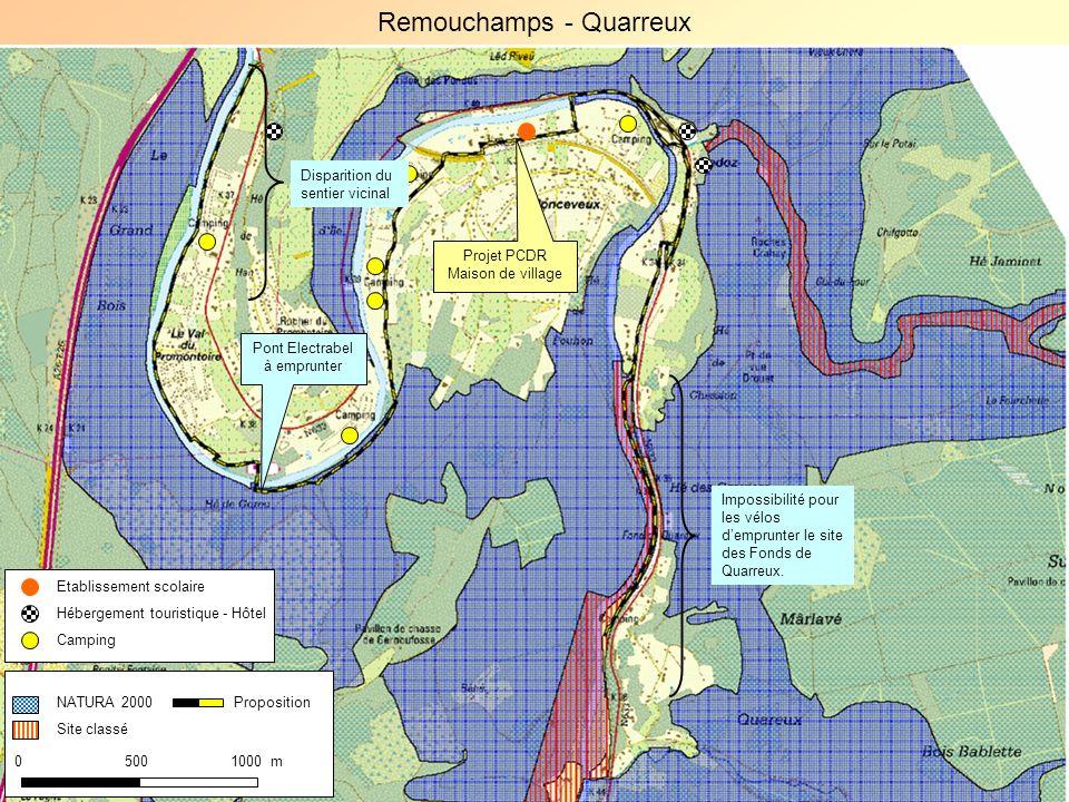 NATURA 2000 Site classé 0 500 1000 m Proposition Projet PCDR Maison de village Impossibilité pour les vélos demprunter le site des Fonds de Quarreux.