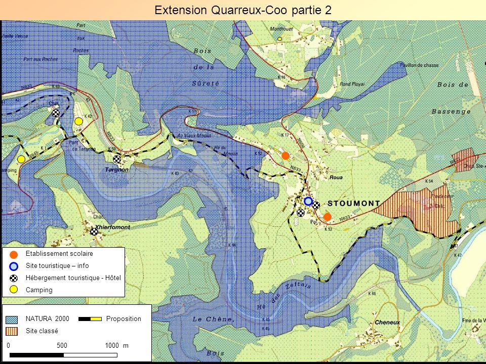 NATURA 2000 Site classé 0 500 1000 m Proposition Extension Quarreux-Coo partie 2 Etablissement scolaire Site touristique – info Hébergement touristiqu