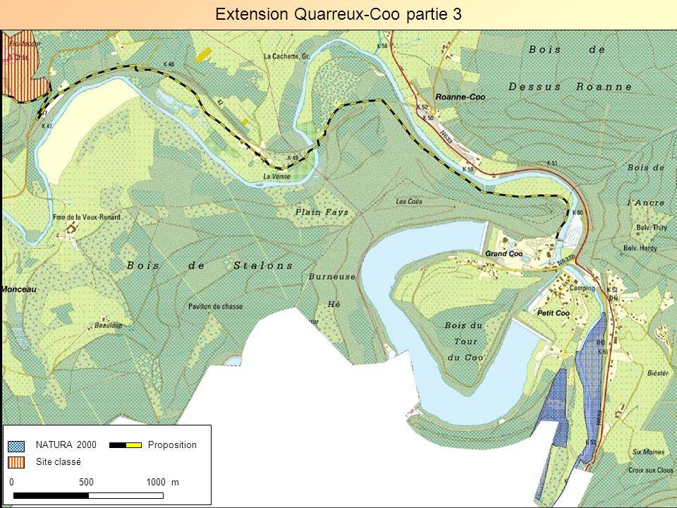 Extension Quarreux-Coo partie 3 NATURA 2000 Site classé 0 500 1000 m Proposition