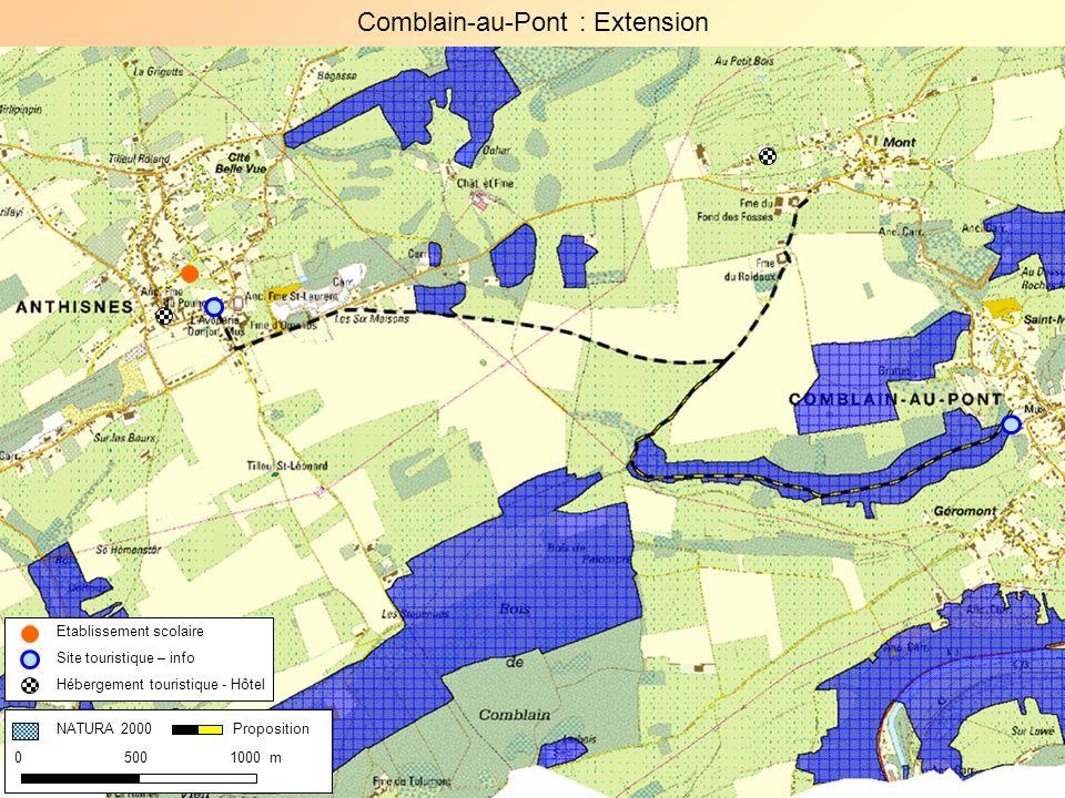 Comblain-au-Pont : Extension NATURA 2000 0 500 1000 m Proposition Etablissement scolaire Site touristique – info Hébergement touristique - Hôtel