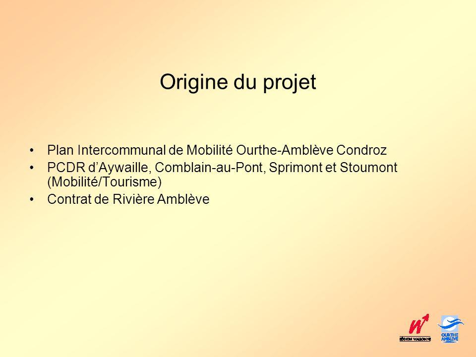 Approche globale Phase 1 : Liaison Comblain-au-Pont - Quarreux (± 21 km) –Comblain-au-Pont – Aywaille –Amblève navigable –± 9 km –Aywaille – Remouchamps –Cheminement réalisé –± 2,5 km –Remouchamps – Quarreux –Amblève non navigable –± 9 km Phase 2 : Extensions –Comblain-au-Pont Ancienne assiette vicinale –Quarreux - Coo (± 20 km)