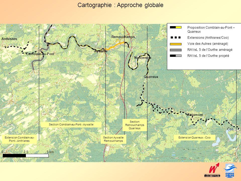 Cartographie : Approche globale Anthisnes Comblain-au-Pont Aywaille Remouchamps Nonceveux Quarreux Coo Stoumont 0 2,5 5 km Proposition Comblain-au-Pon