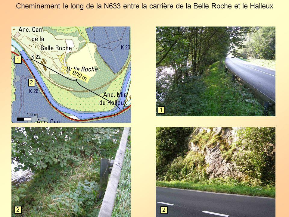 0 100 m Cheminement le long de la N633 entre la carrière de la Belle Roche et le Halleux 1 1 2 2 2 900 m