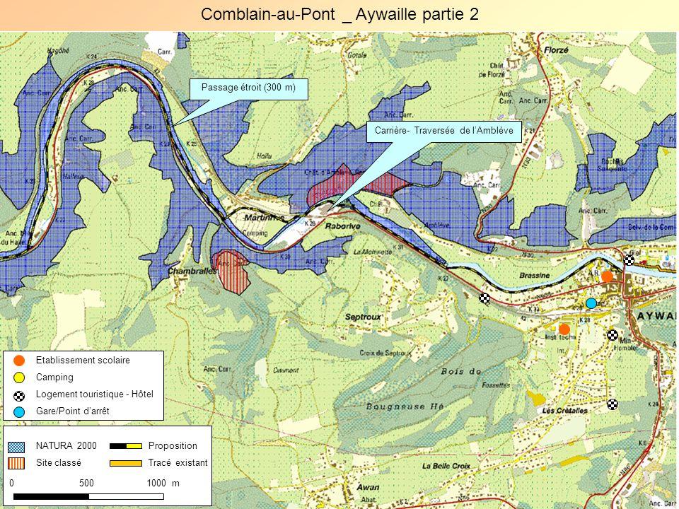 0 500 1000 m Proposition Tracé existant Etablissement scolaire Camping Logement touristique - Hôtel Gare/Point darrêt Comblain-au-Pont _ Aywaille part