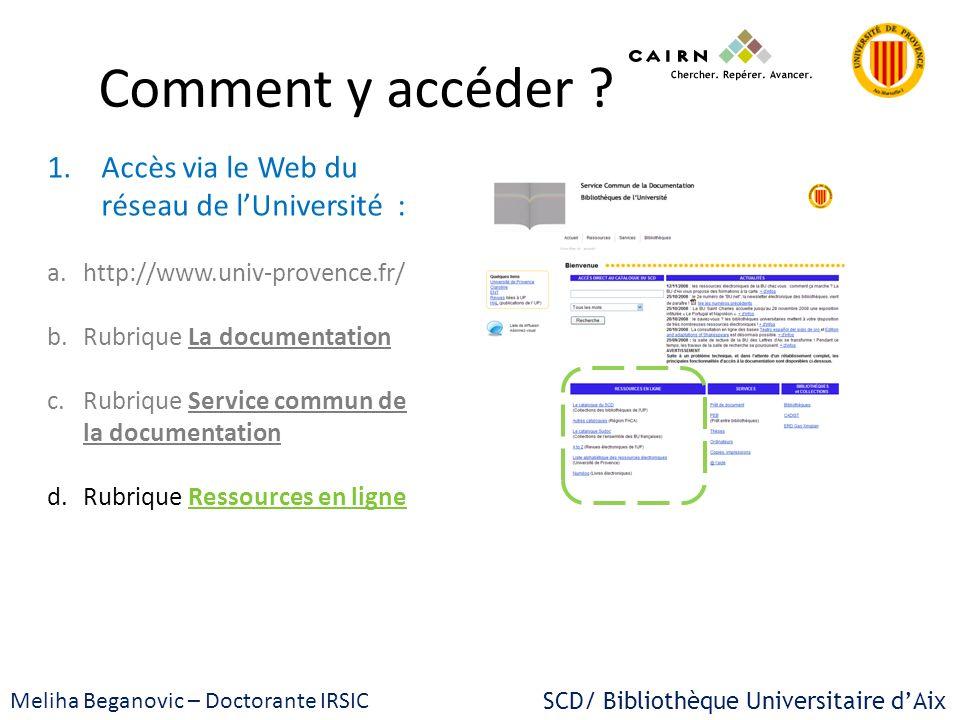 Comment y accéder ? 1.Accès via le Web du réseau de lUniversité : a.http://www.univ-provence.fr/ b.Rubrique La documentation c.Rubrique Service commun