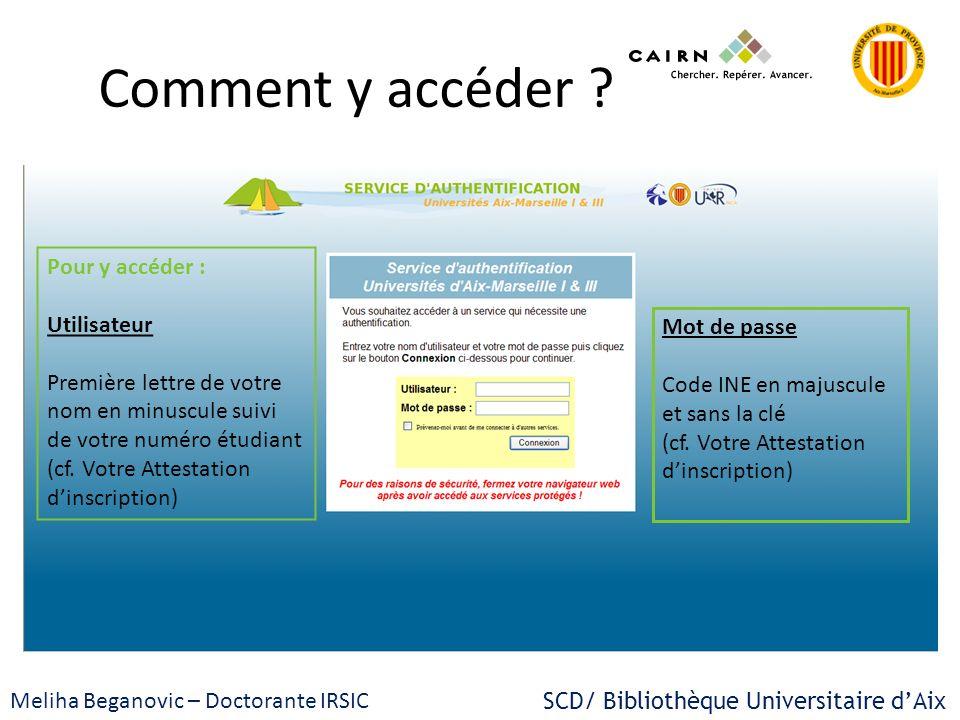 SCD/ Bibliothèque Universitaire dAix Meliha Beganovic – Doctorante IRSIC Comment y accéder ? Pour y accéder : Utilisateur Première lettre de votre nom