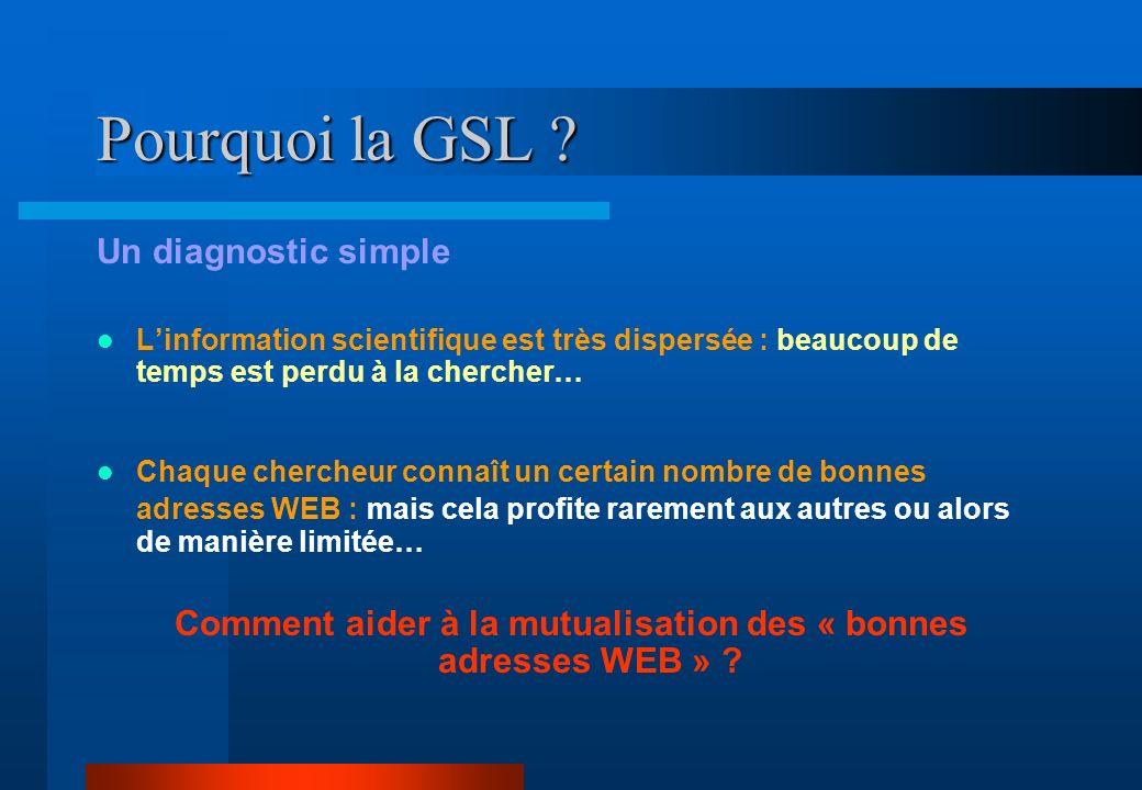 Pourquoi la GSL ? Un diagnostic simple Linformation scientifique est très dispersée : beaucoup de temps est perdu à la chercher… Chaque chercheur conn