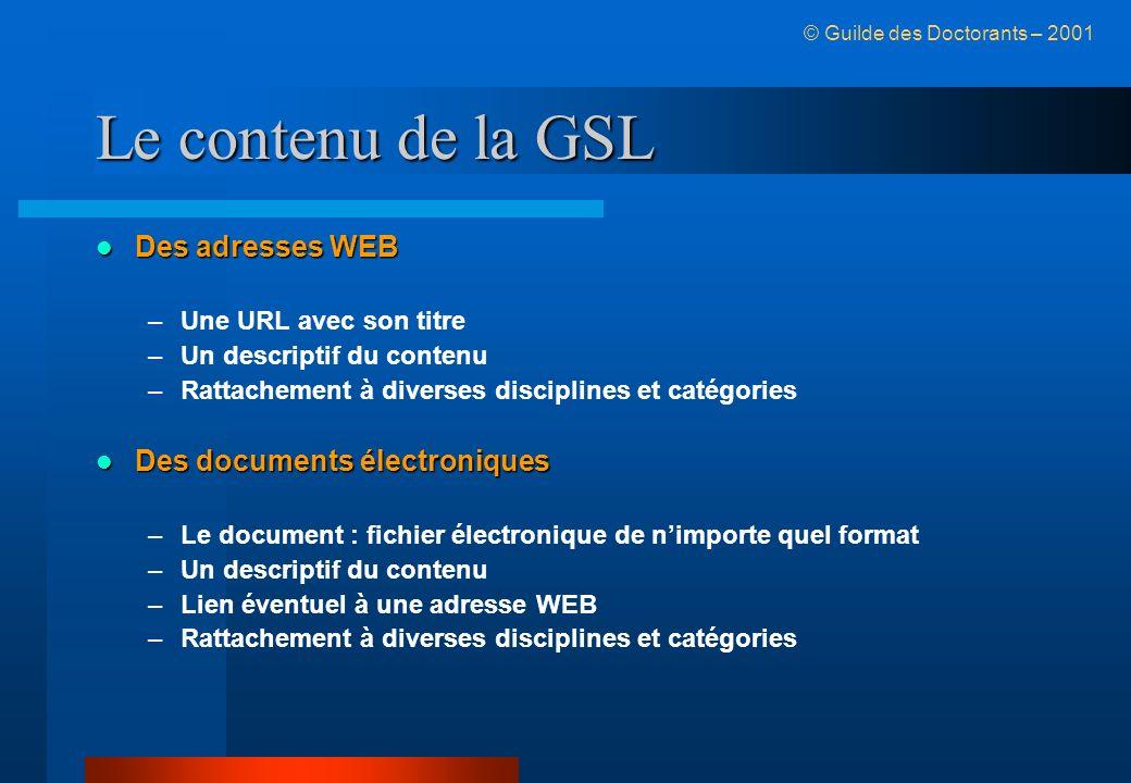 Le contenu de la GSL Des adresses WEB Des adresses WEB –Une URL avec son titre –Un descriptif du contenu –Rattachement à diverses disciplines et catég