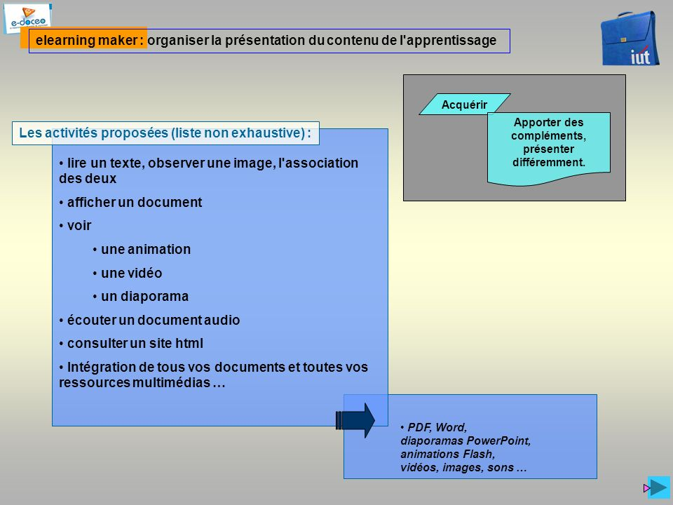 PDF, Word, diaporamas PowerPoint, animations Flash, vidéos, images, sons … elearning maker : organiser la présentation du contenu de l'apprentissage A