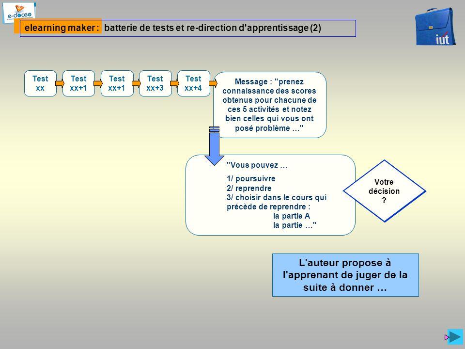 Votre décision ? elearning maker : batterie de tests et re-direction d'apprentissage (2) Test xx Test xx+1 Test xx+3 Test xx+4 L'auteur propose à l'ap