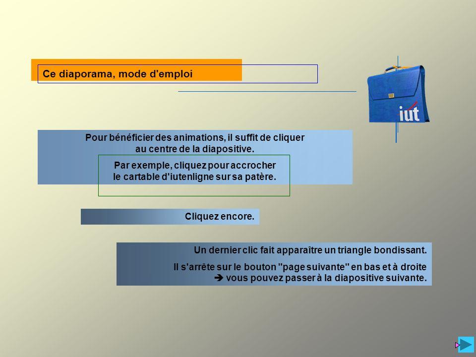 Pour bénéficier des animations, il suffit de cliquer au centre de la diapositive. Par exemple, cliquez pour accrocher le cartable d'iutenligne sur sa