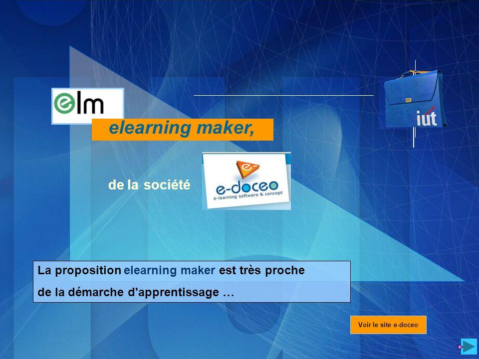 La proposition elearning maker est très proche de la démarche d'apprentissage … Voir le site e-doceo elearning maker, de la société