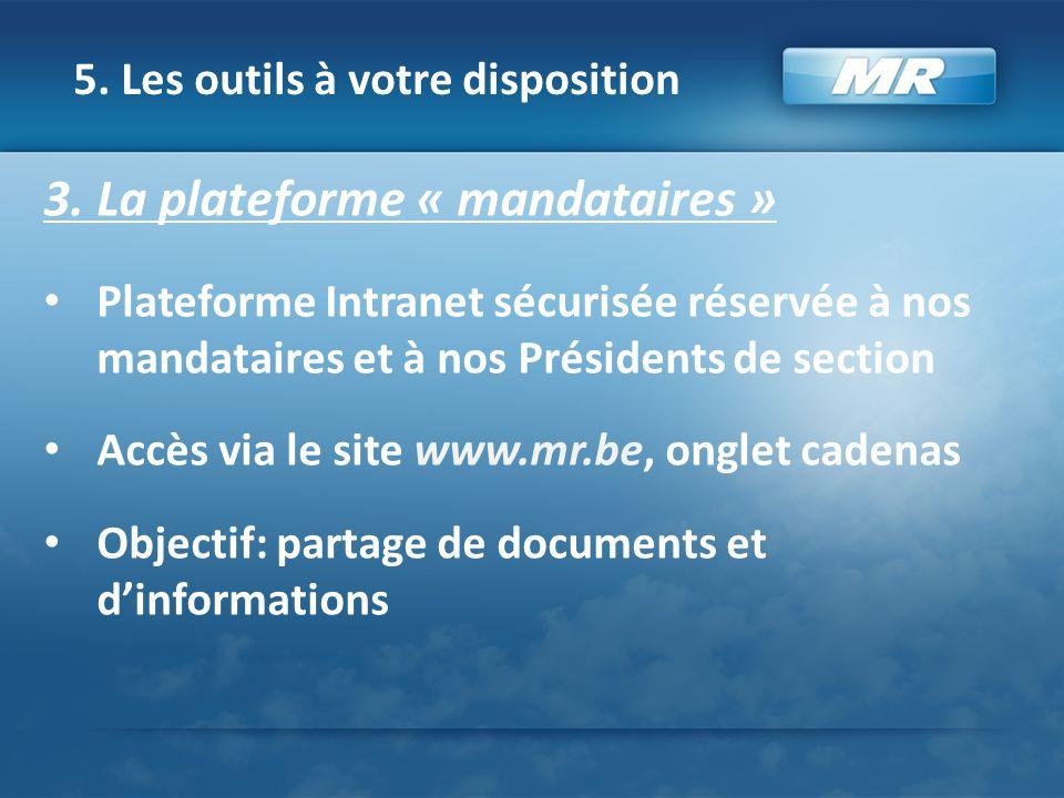 5. Les outils à votre disposition 3. La plateforme « mandataires » Plateforme Intranet sécurisée réservée à nos mandataires et à nos Présidents de sec