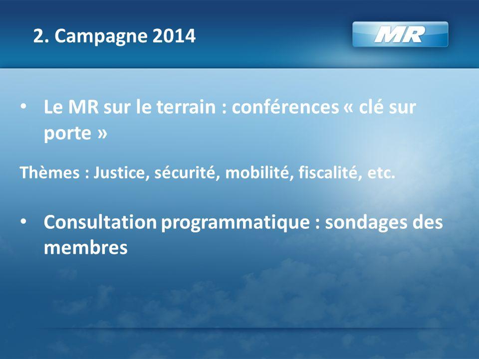 2. Campagne 2014 Le MR sur le terrain : conférences « clé sur porte » Thèmes : Justice, sécurité, mobilité, fiscalité, etc. Consultation programmatiqu