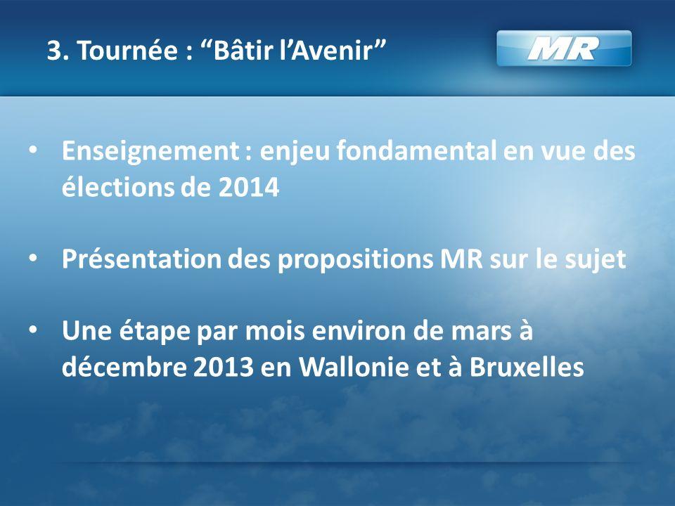 3. Tournée : Bâtir lAvenir Enseignement : enjeu fondamental en vue des élections de 2014 Présentation des propositions MR sur le sujet Une étape par m