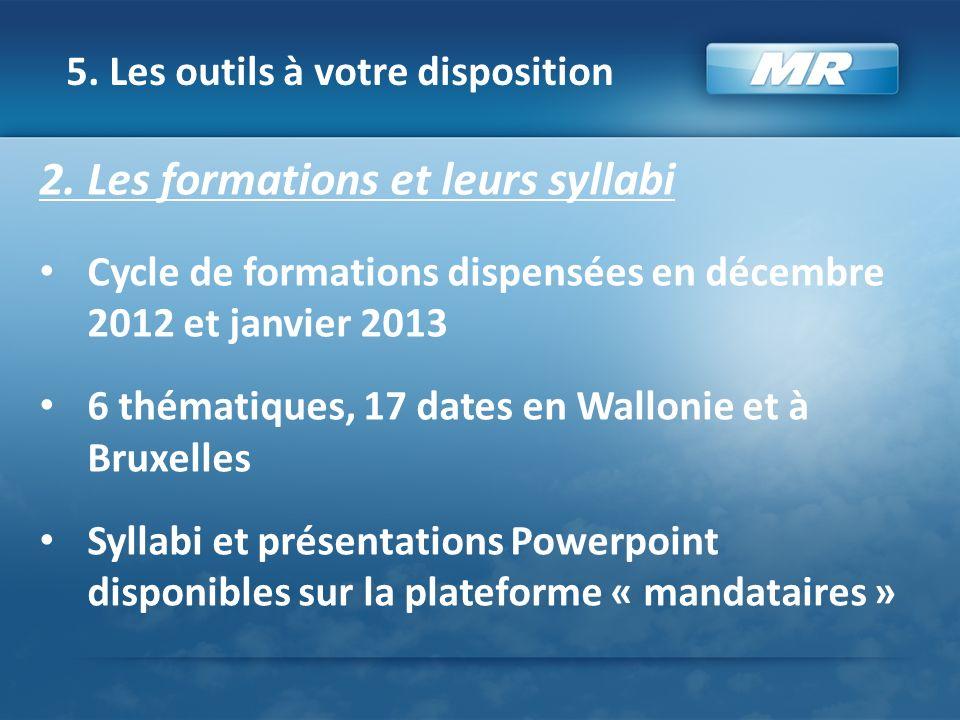 5. Les outils à votre disposition 2. Les formations et leurs syllabi Cycle de formations dispensées en décembre 2012 et janvier 2013 6 thématiques, 17
