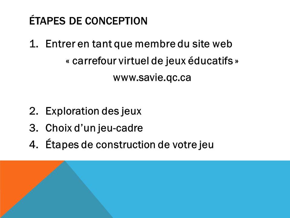 ÉTAPES DE CONCEPTION 1.Entrer en tant que membre du site web « carrefour virtuel de jeux éducatifs » www.savie.qc.ca 2.Exploration des jeux 3.Choix du