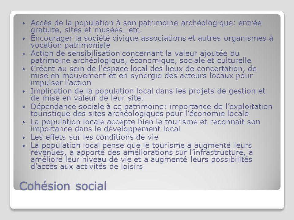 Cohésion social Accès de la population à son patrimoine archéologique: entrée gratuite, sites et musées…etc.