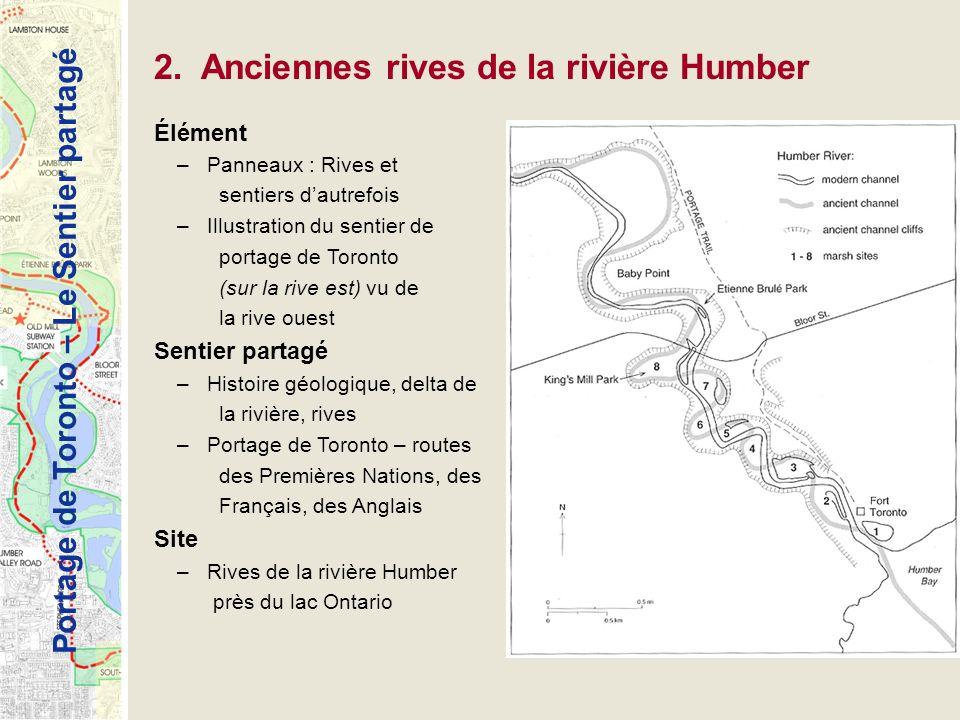 Portage de Toronto – Le Sentier partagé 2. Anciennes rives de la rivière Humber Élément –Panneaux : Rives et sentiers dautrefois –Illustration du sent