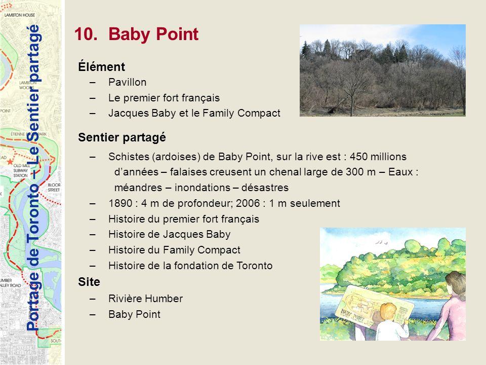 Portage de Toronto – Le Sentier partagé 10. Baby Point Élément –Pavillon –Le premier fort français –Jacques Baby et le Family Compact Sentier partagé