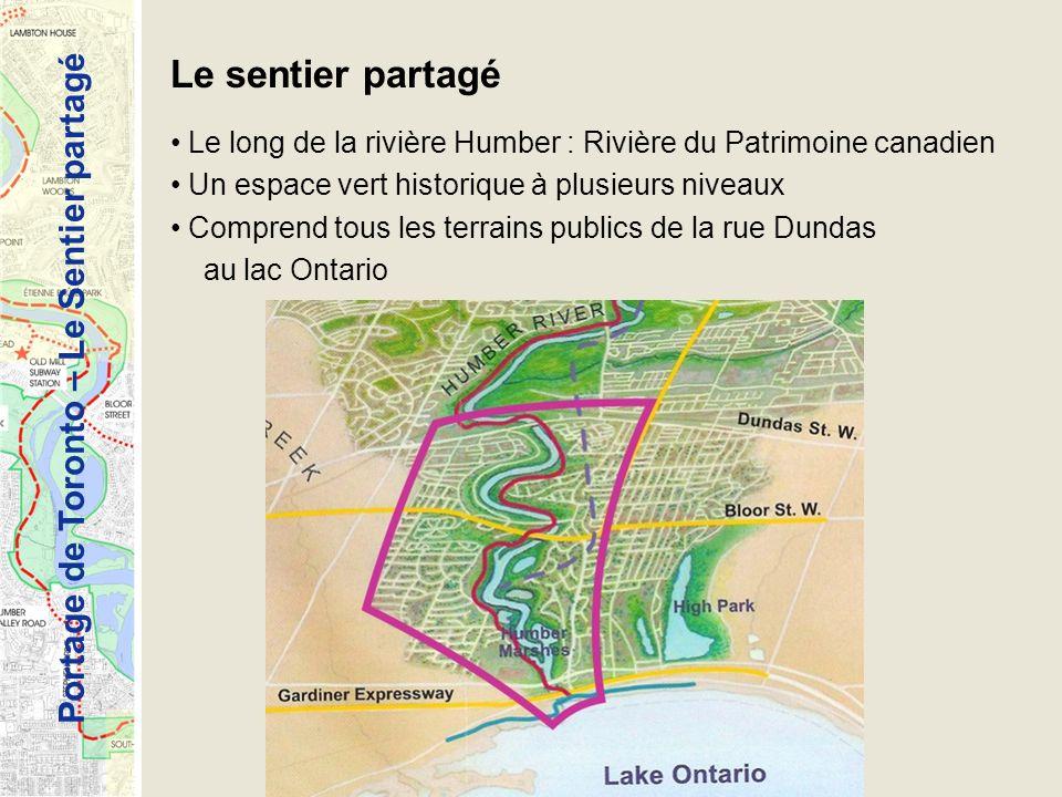Portage de Toronto – Le Sentier partagé Le sentier partagé Le long de la rivière Humber : Rivière du Patrimoine canadien Un espace vert historique à plusieurs niveaux Comprend tous les terrains publics de la rue Dundas au lac Ontario