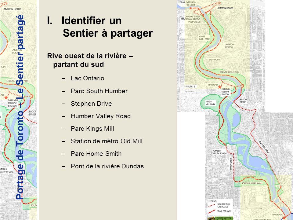 Portage de Toronto – Le Sentier partagé I. Identifier un Sentier à partager Rive ouest de la rivière – partant du sud –Lac Ontario –Parc South Humber