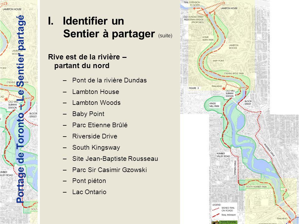 Portage de Toronto – Le Sentier partagé I. Identifier un Sentier à partager (suite) Rive est de la rivière – partant du nord –Pont de la rivière Dunda