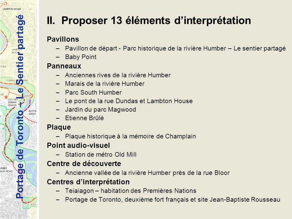 Portage de Toronto – Le Sentier partagé II. Proposer 13 éléments dinterprétation Pavillons –Pavillon de départ - Parc historique de la rivière Humber