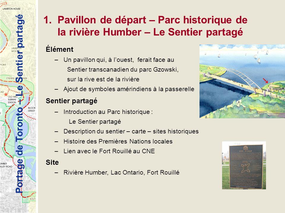 Portage de Toronto – Le Sentier partagé 1.Pavillon de départ – Parc historique de la rivière Humber – Le Sentier partagé Élément –Un pavillon qui, à l