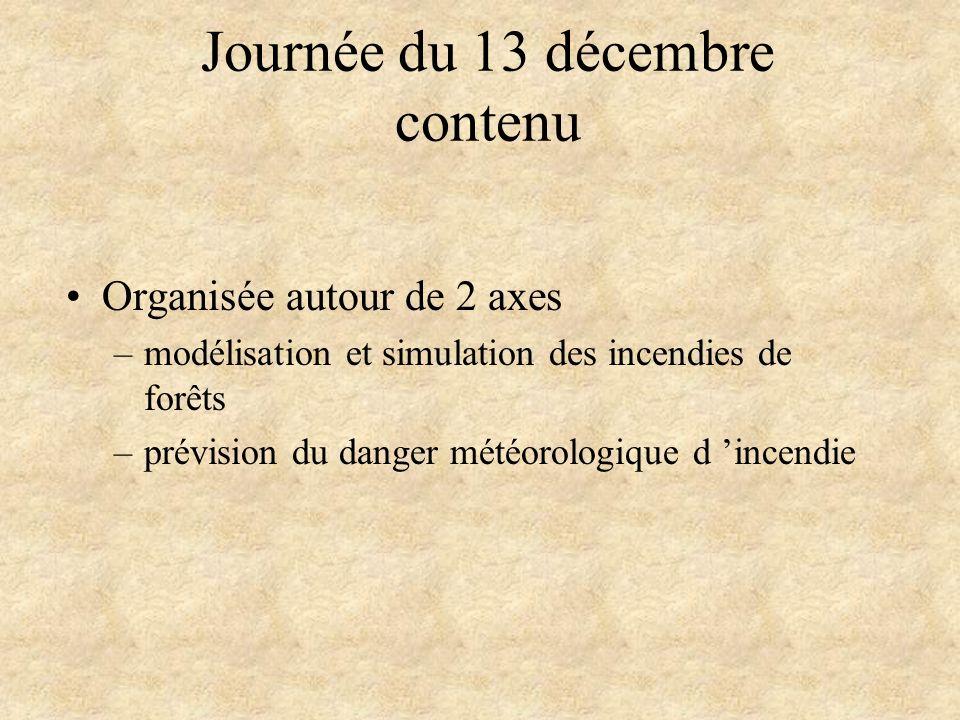 Journée du 13 décembre contenu Organisée autour de 2 axes –modélisation et simulation des incendies de forêts –prévision du danger météorologique d in