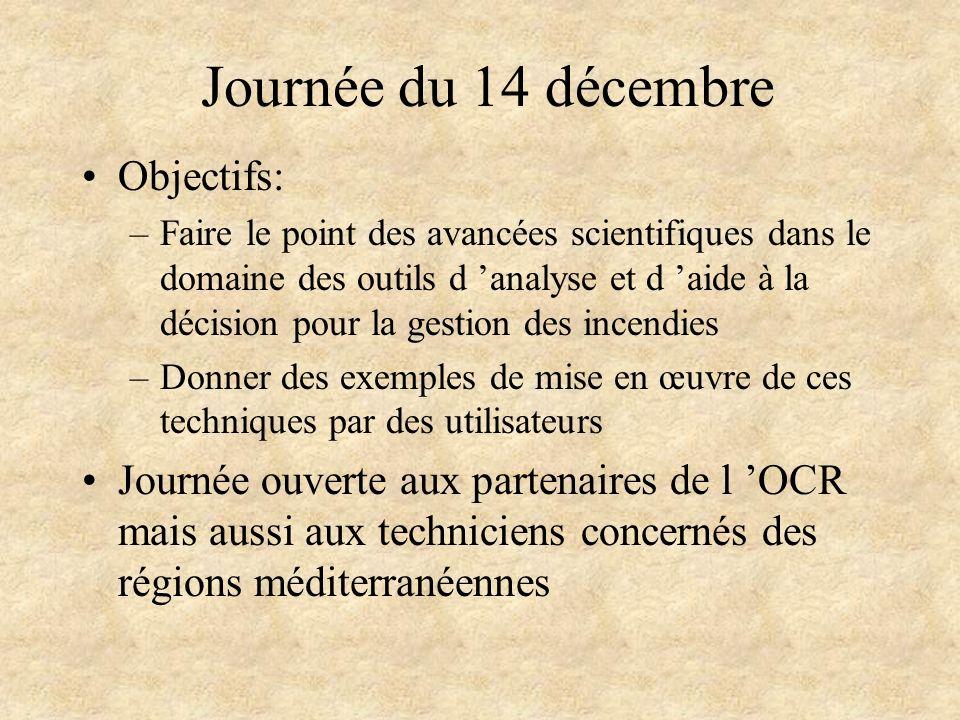 Journée du 14 décembre Objectifs: –Faire le point des avancées scientifiques dans le domaine des outils d analyse et d aide à la décision pour la gest