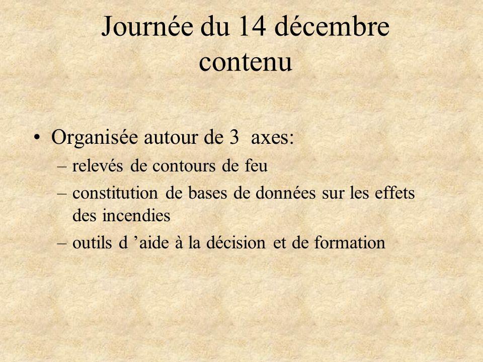 Journée du 14 décembre contenu Organisée autour de 3 axes: –relevés de contours de feu –constitution de bases de données sur les effets des incendies