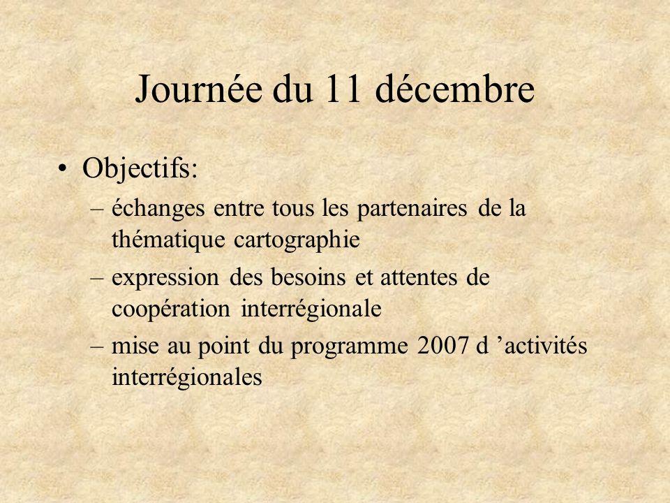 Journée du 11 décembre Objectifs: –échanges entre tous les partenaires de la thématique cartographie –expression des besoins et attentes de coopératio