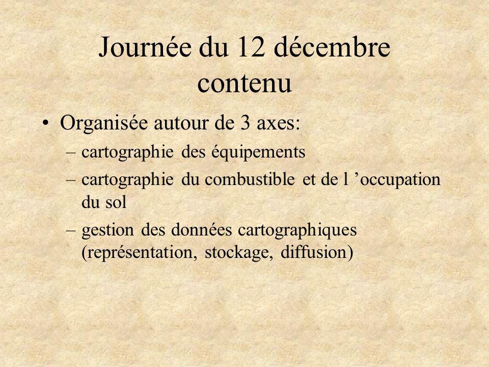 Journée du 12 décembre contenu Organisée autour de 3 axes: –cartographie des équipements –cartographie du combustible et de l occupation du sol –gesti