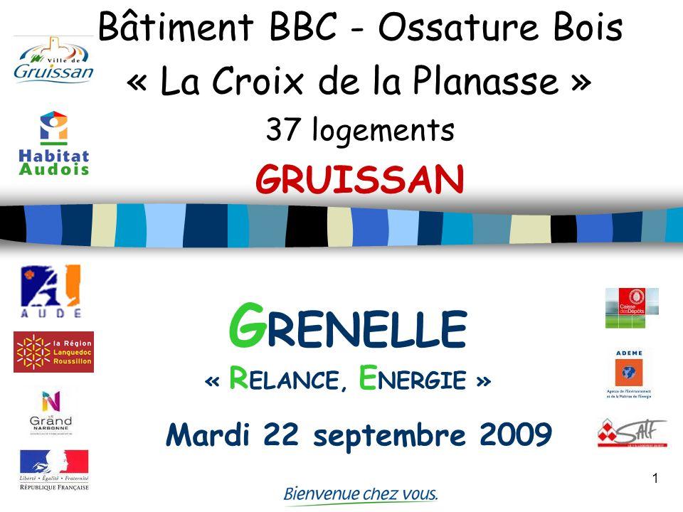 1 Bâtiment BBC - Ossature Bois « La Croix de la Planasse » 37 logements GRUISSAN G RENELLE « R ELANCE, E NERGIE » Mardi 22 septembre 2009