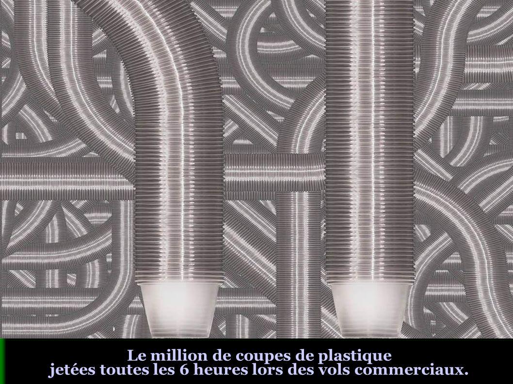 Le million de coupes de plastique jetées toutes les 6 heures lors des vols commerciaux.