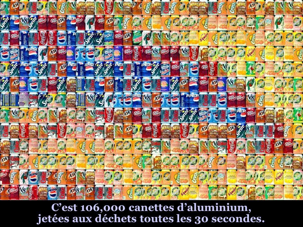 Cest 106,000 canettes daluminium, jetées aux déchets toutes les 30 secondes.