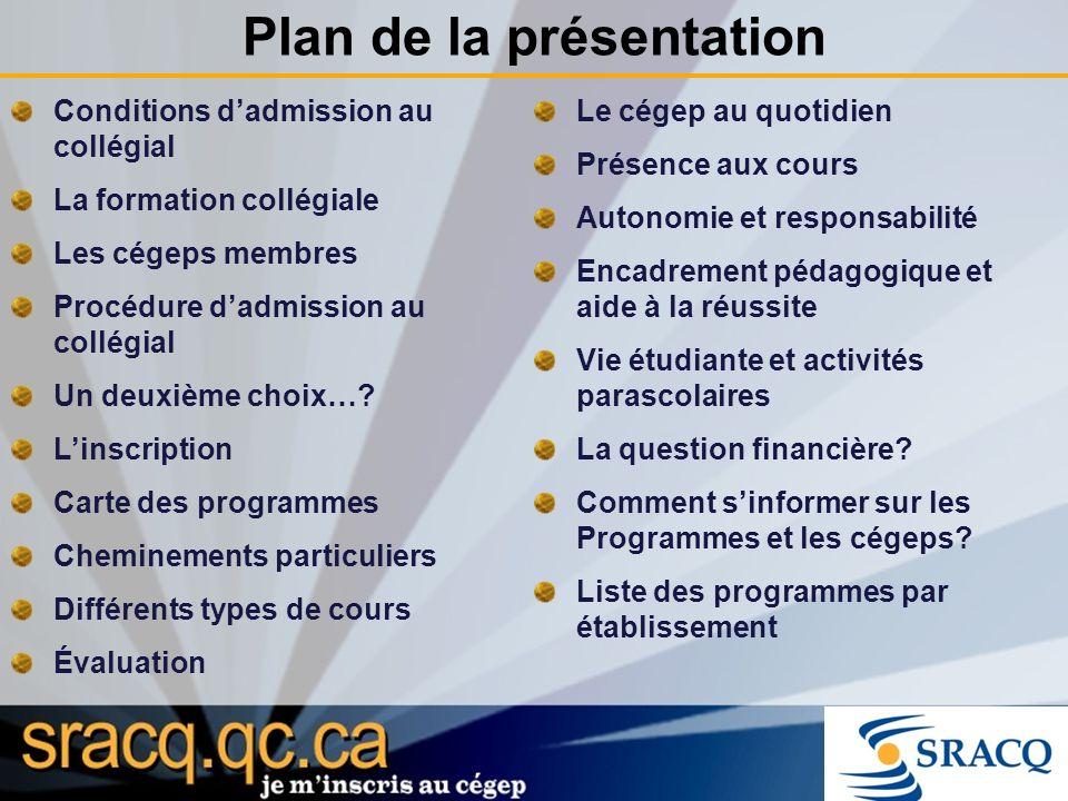Plan de la présentation Conditions dadmission au collégial La formation collégiale Les cégeps membres Procédure dadmission au collégial Un deuxième choix….
