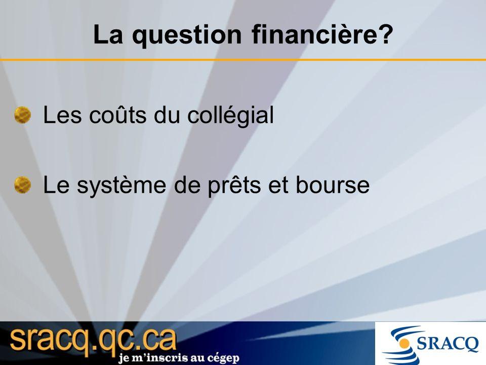 Les coûts du collégial Le système de prêts et bourse La question financière?