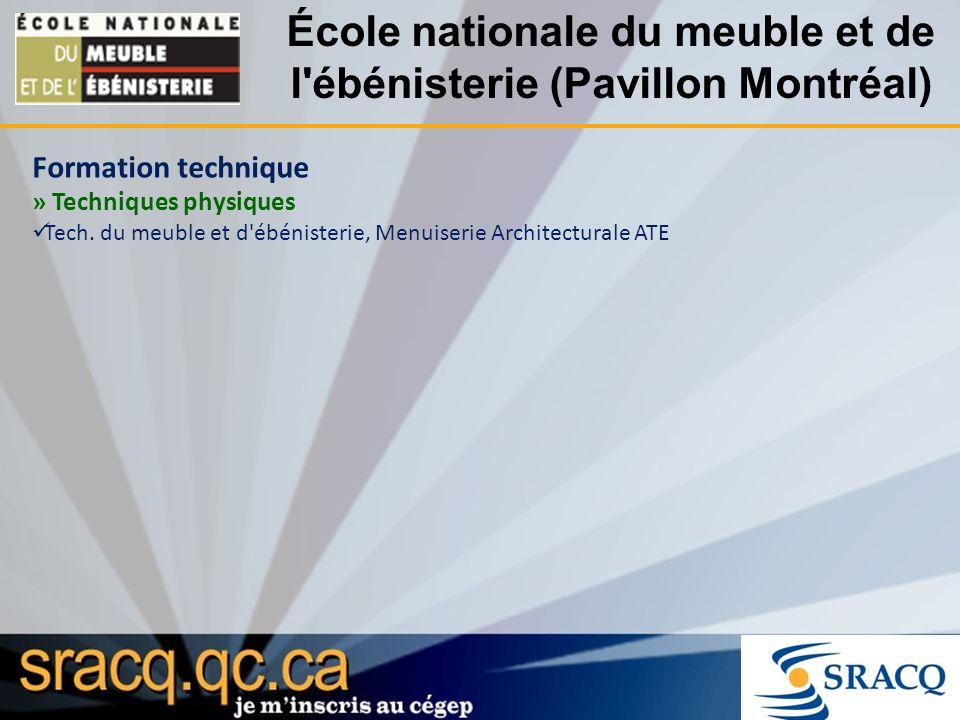 École nationale du meuble et de l ébénisterie (Pavillon Montréal) Formation technique » Techniques physiques Tech.