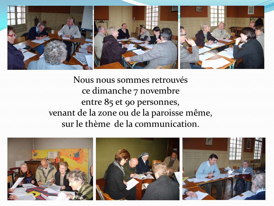 Nous nous sommes retrouvés ce dimanche 7 novembre entre 85 et 90 personnes, venant de la zone ou de la paroisse même, sur le thème de la communication