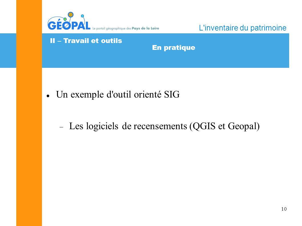 10 En pratique L inventaire du patrimoine II – Travail et outils Un exemple d outil orienté SIG Les logiciels de recensements (QGIS et Geopal)