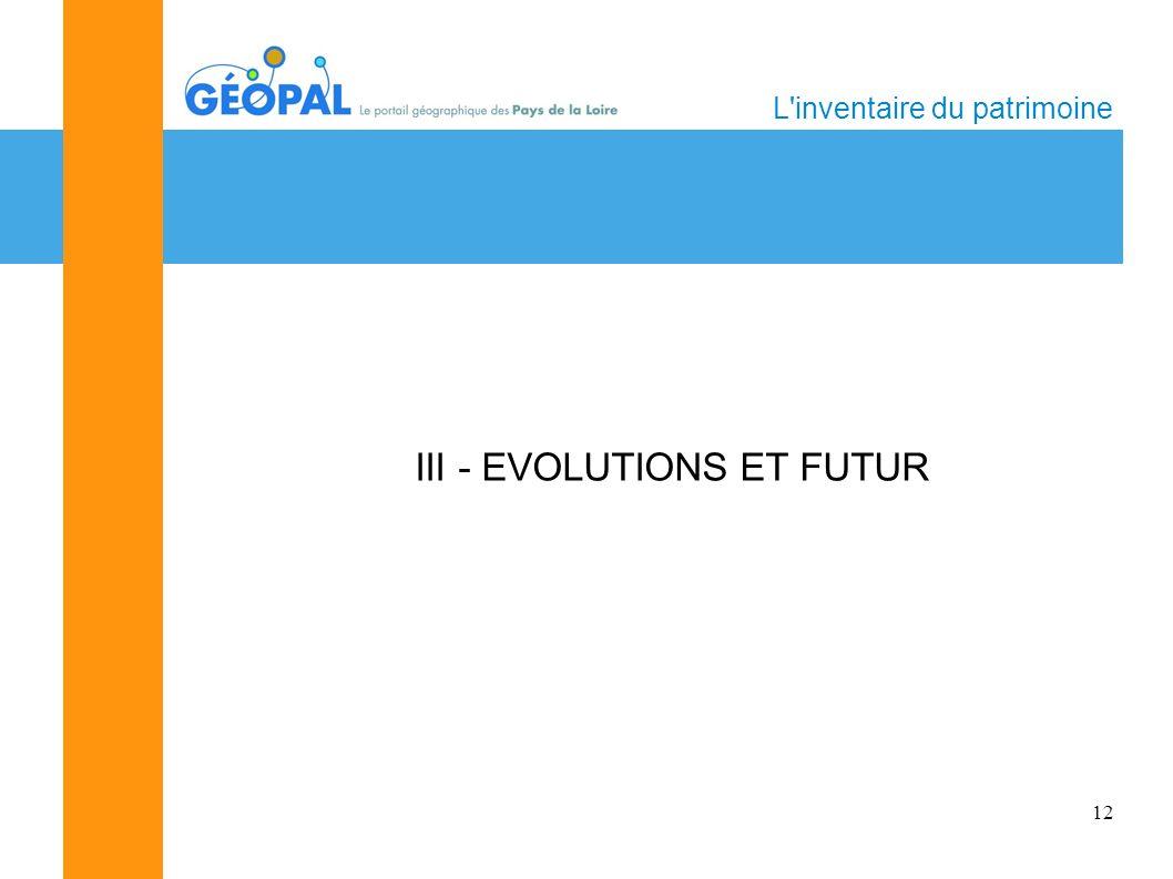 12 L inventaire du patrimoine III - EVOLUTIONS ET FUTUR