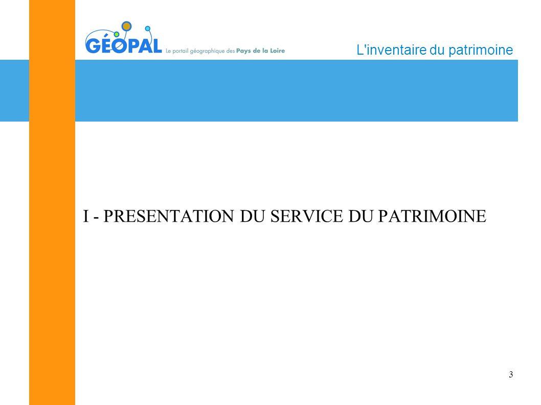 3 L inventaire du patrimoine I - PRESENTATION DU SERVICE DU PATRIMOINE