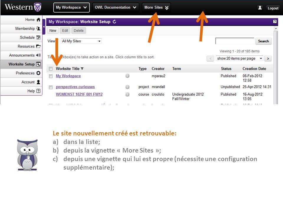 Le site nouvellement créé est retrouvable: a)dans la liste; b)depuis la vignette « More Sites »; c)depuis une vignette qui lui est propre (nécessite u