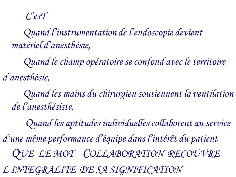 CesT Q uand linstrumentation de lendoscopie devient matériel danesthésie, Q uand le champ opératoire se confond avec le territoire danesthésie, Q uand