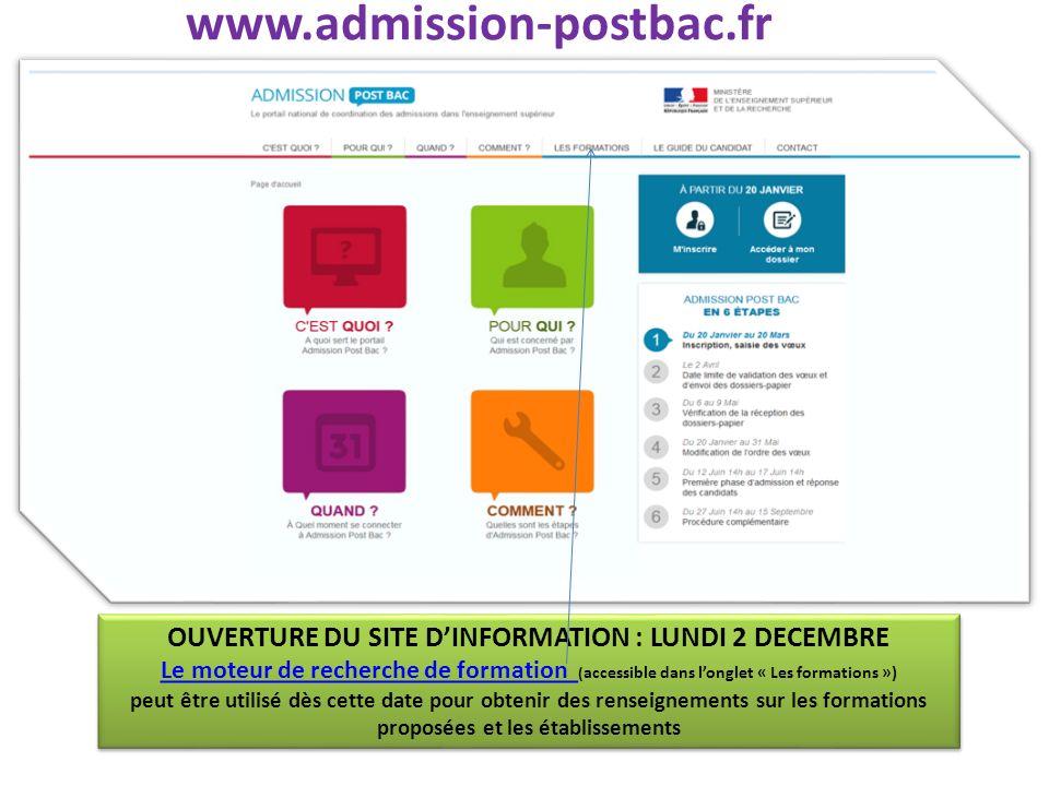 www.admission-postbac.fr OUVERTURE DU SITE DINFORMATION : LUNDI 2 DECEMBRE Le moteur de recherche de formation Le moteur de recherche de formation ( a