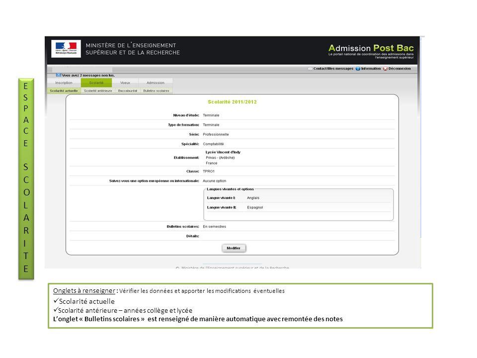 Etape 2 : Saisir ses vœux – Les valider – Les ordonner Dans lespace « vœux » candidatures Etape 2 : Saisir ses vœux – Les valider – Les ordonner Dans lespace « vœux » candidatures ESPACEVOEUXESPACEVOEUX ESPACEVOEUXESPACEVOEUX La saisie des vœux seffectue à laide du « moteur de recherche de formation » voir diapositive suivante cliquer sur « ajouter une formation » les vœux validés sont signalés par (tout vœu pour être validé doit être ordonné)