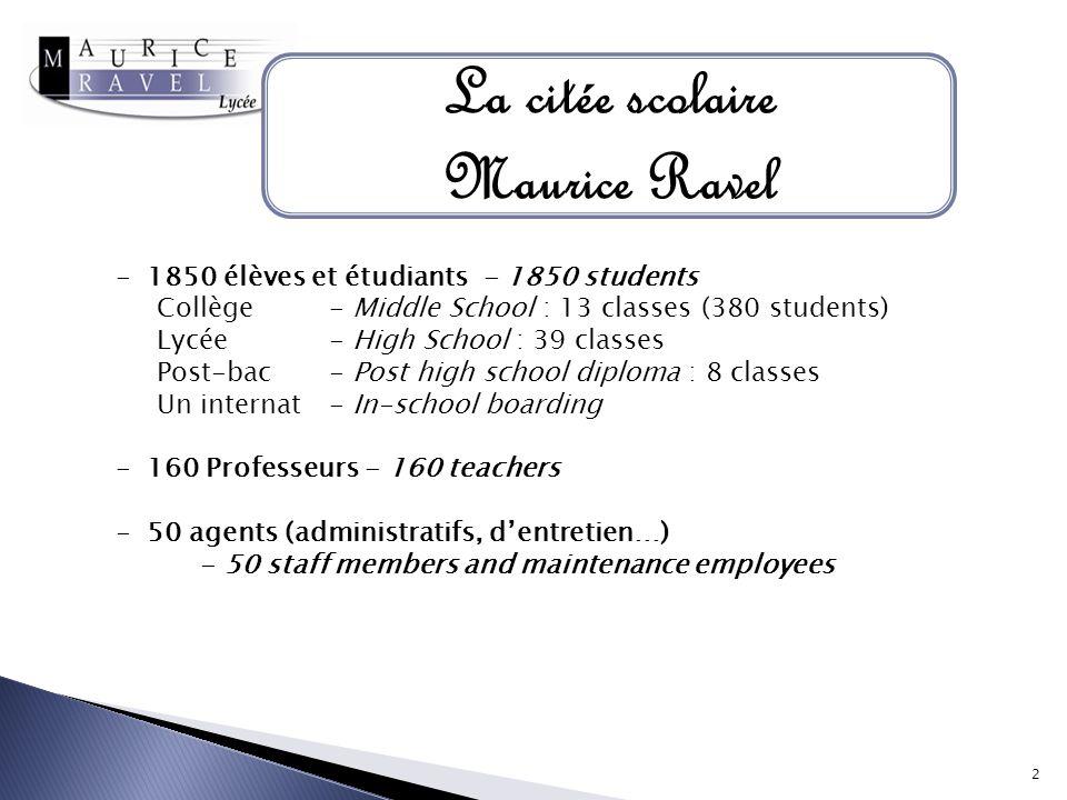 La citée scolaire Maurice Ravel - 1850 élèves et étudiants - 1850 students Collège - Middle School : 13 classes (380 students) Lycée - High School : 3