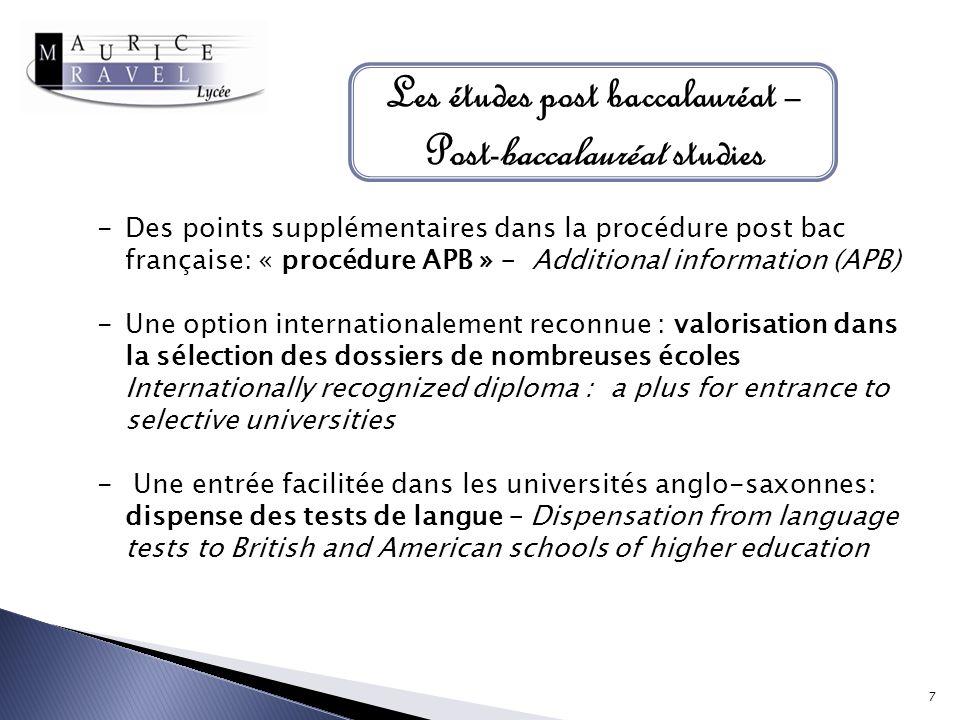 Les études post baccalauréat – Post-baccalauréat studies -Des points supplémentaires dans la procédure post bac française: « procédure APB » – Additio